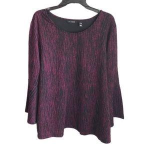 H by HALSTON purple black bell sleeve blouse XL